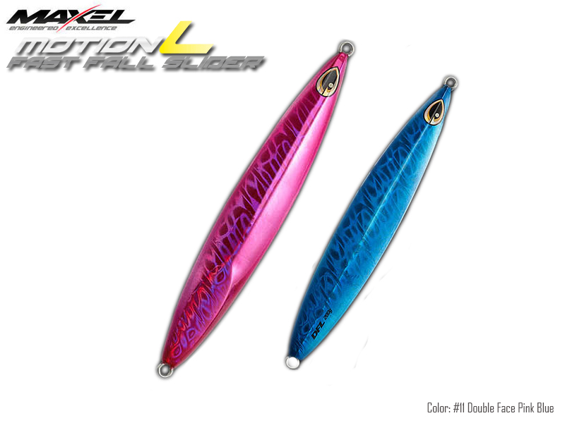 Maxel Dragonfly Jigs Motion L Fast Fall Slider (Length: 175mm, Weight: 200gr, Color: #11 Double Face Pink Blue)