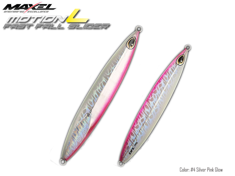 Maxel Dragonfly Jigs Motion L Fast Fall Slider (Length: 175mm, Weight: 200gr, Color: #4 Silver Pink Glow)