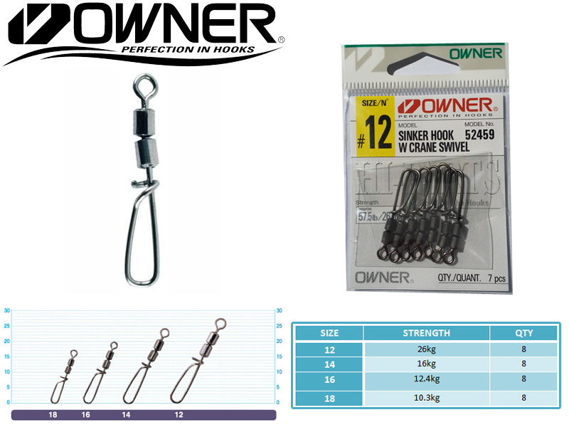 Owner 52459 Sinker Hook With Crane Swivel (Size: 18, Strength: 10.3kg, Qty: 8pcs)