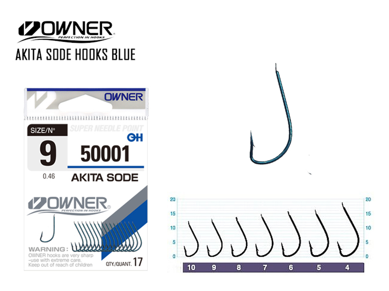 Owner 50001 Akita Sode Blue (Size: #5, Pack: 15pcs)