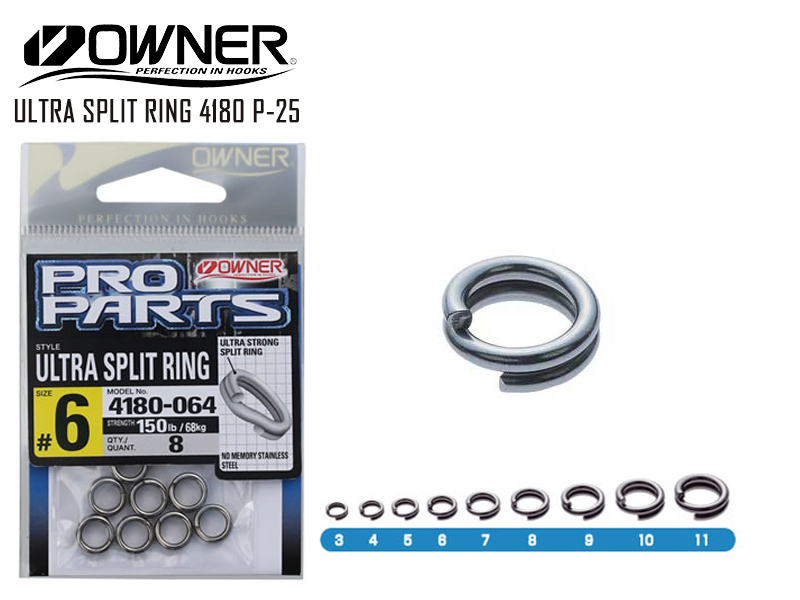 Owner4180 P-25 Ultra Split Ring (Size:#8, Strength:405lb/183kg, Pack:7pcs)