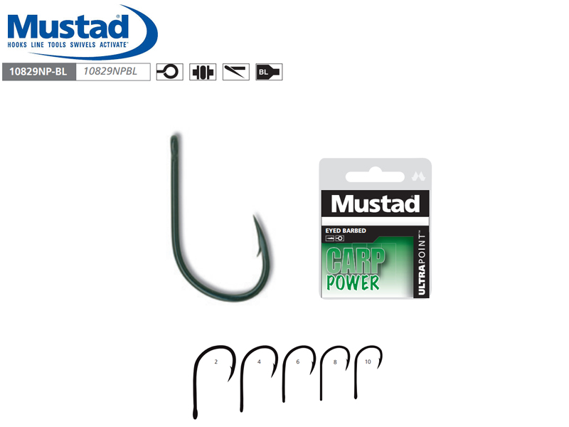 Mustad 10829NPBL Carp Power Eyed Barbed (Size: 2, Pack: 10)