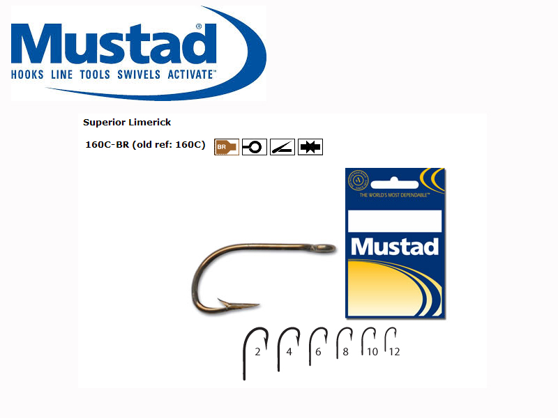 Mustad 160C - BR Superior Limerick Brown (Size: 8, Qty: 10pcs)