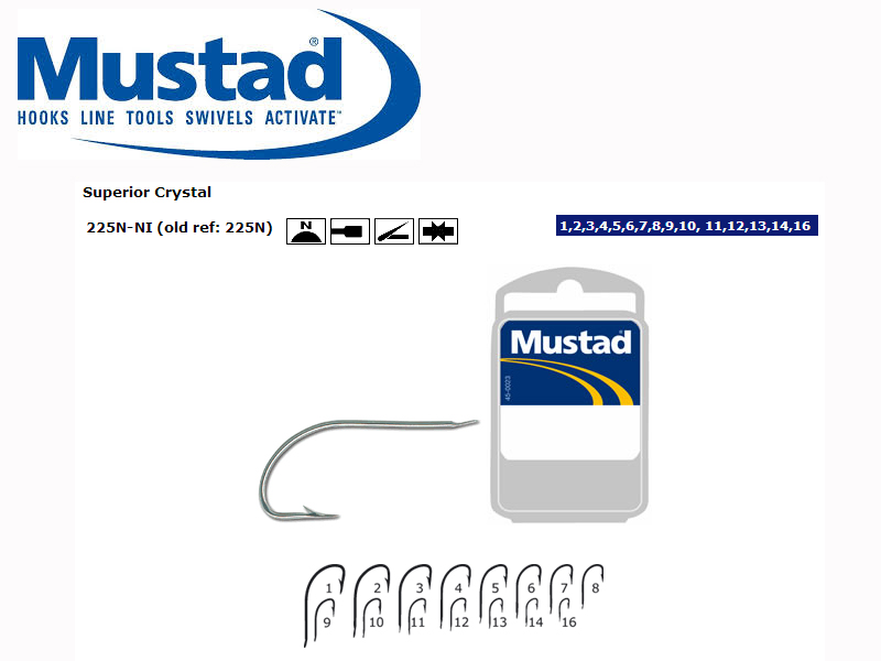Mustad 225N Superior Crystal Hook (Size: 7, Qty: 50pcs)