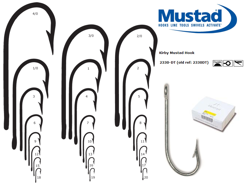 Mustad 2330-DT Kirby Hook (Size: 2, Qty: 50pcs)