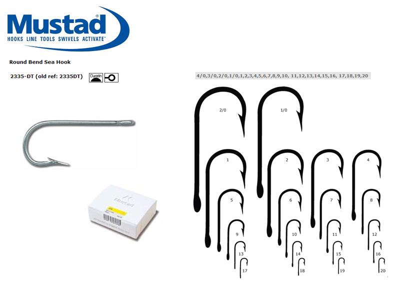 Mustad 2335-DT Round Bend Sea Hook (Size: 3, Qty: 100pcs)