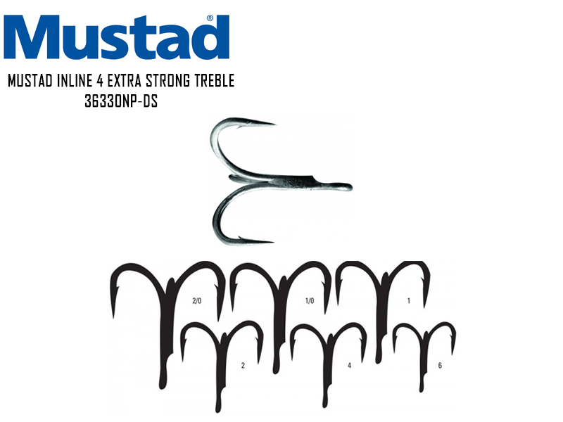 Mustad Inline 4 Extra Strong Trebble 36330NP-DS (Size: 2, Pack: 6pcs)
