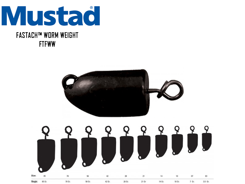 Mustad Fastach™ Worm Weight (Weight: 10gr, Color: Black Powder, Pack: 3pcs)