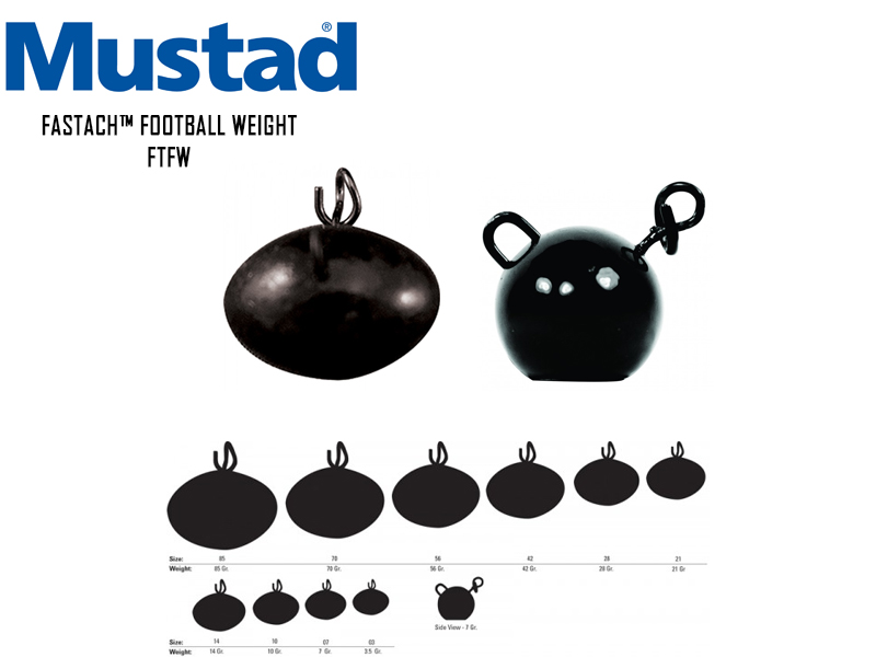 Mustad Fastach™ Football Weight (Weight: 14gr, Color: Black Powder, Pack: 3pcs)
