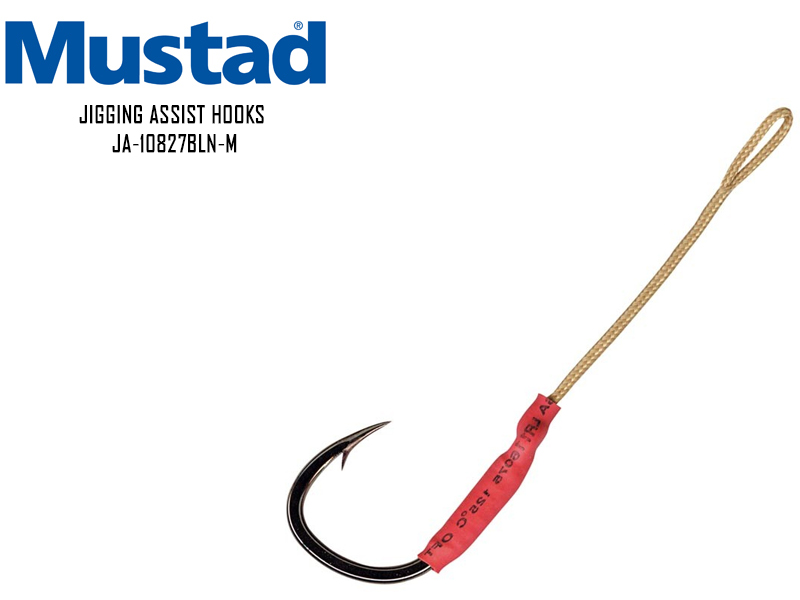 Mustad Jigging Assist Hooks JA-10827BLN-M (Size: 4/0, Breaking Strength: 140lb, Length: 6.5cm, Pack: 4pcs)