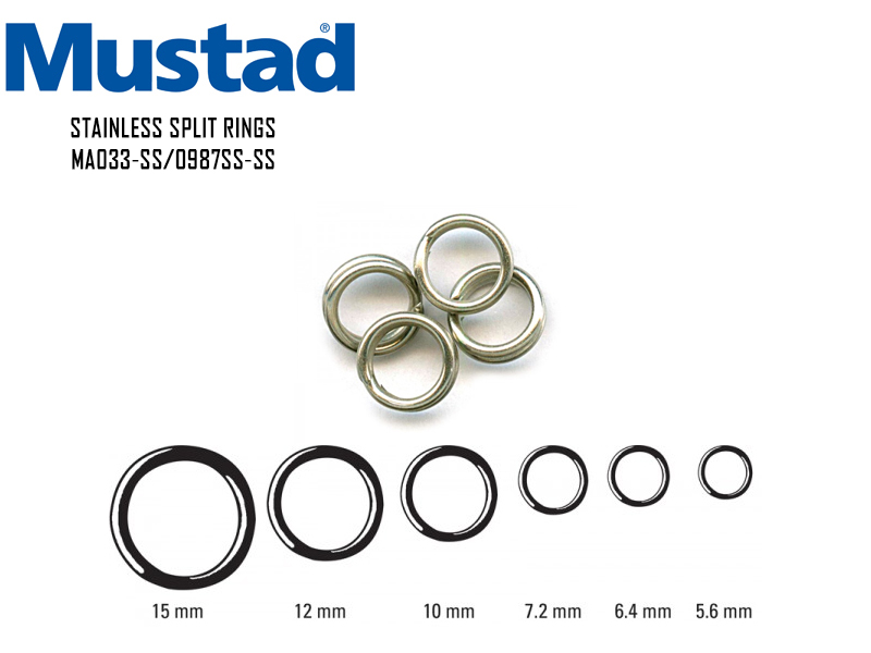 Mustad Stainless Split Rings MA033-SS (Size: 6.4mm, Breaking Strength: 17kg, Pack: 10pcs)