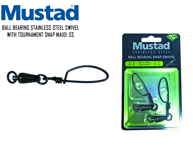 Mustad Ball Bearing Swivel With Tournament Snap MA-101SS (Size: 7, Breaking Strength: 182kg, Pack: 2pcs)