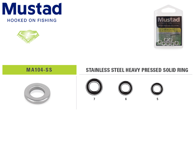 Mustad MA104-SS Stainless Steel Heavy Pressed Solid Ring (Size: 5, B.S: 453kg, Pack: 7pcs)