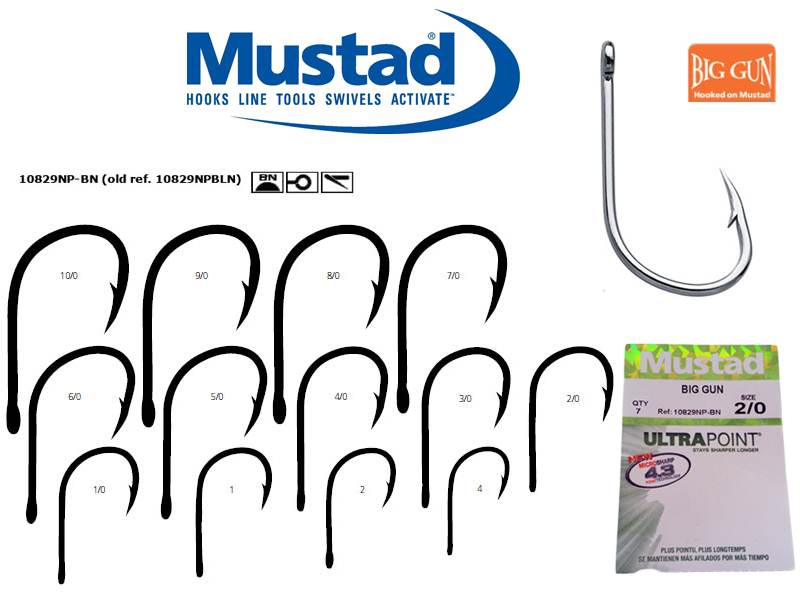 Mustad 10829NP-BN Ultra Point Big Gun (Size: 3/0, Qty: 7pcs )