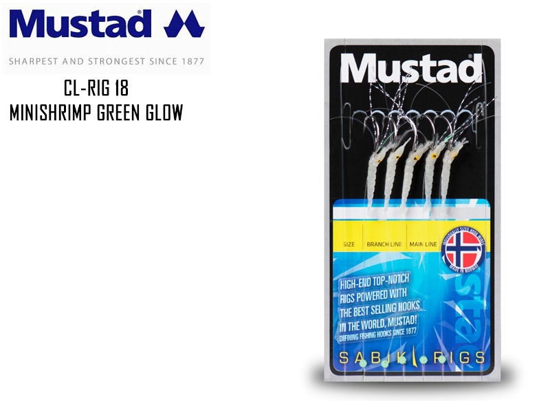 Mustad CL-RIG 18 Mini Shrimp Green Glow Size:2