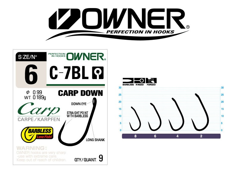 Owner C-7BL Carp Down Barbless (#2, 7pcs)