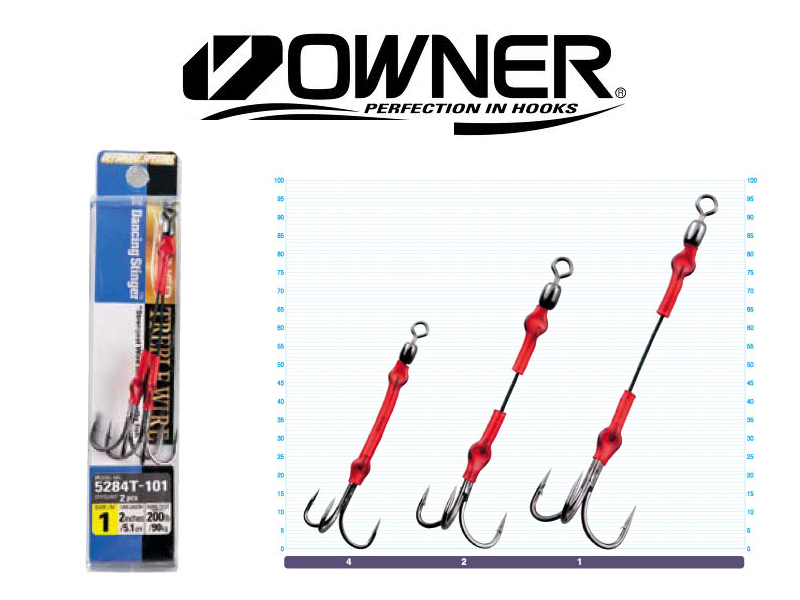 Owner 5284T Treble Dancing Stinger Hooks (#1, 2pcs)