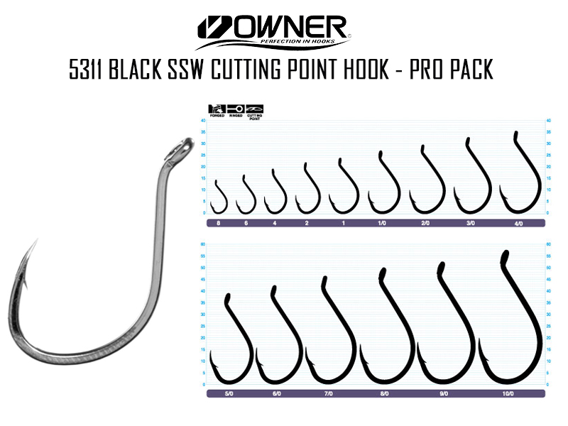 Owner 5311 Black SSW Cutting Point Hook - Pro Pack (Size:8/0, Pack:17pcs)