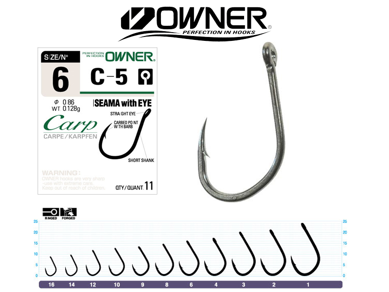Owner 53265 C-5 Carp Hook Iseama with Eye (#1, 7pcs )