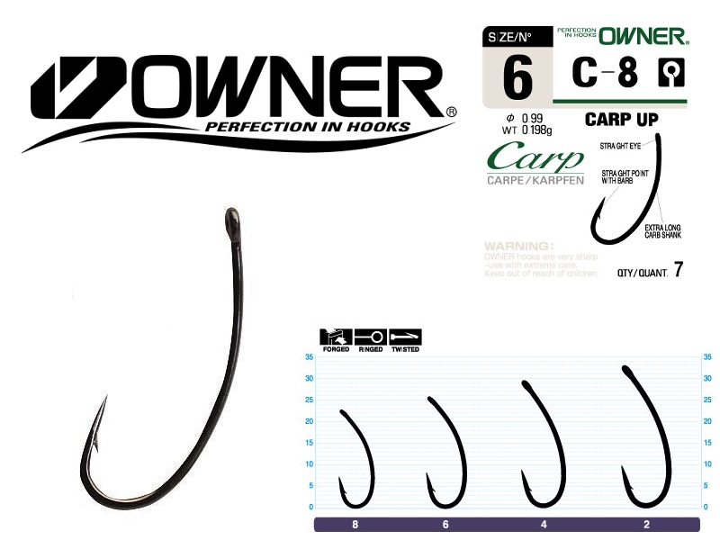 Owner 53268 C-8 Carp Up (#2, 5pcs)