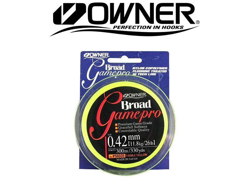 Owner 56035 Broad Gamepro (0.20mm, 2.93kg / 6.4lb, 300m, Yellow)