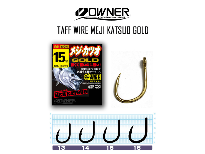 Owner 16540 Taff Wire Meji Katsuo Gold (Size:15, Pack: 5pcs)