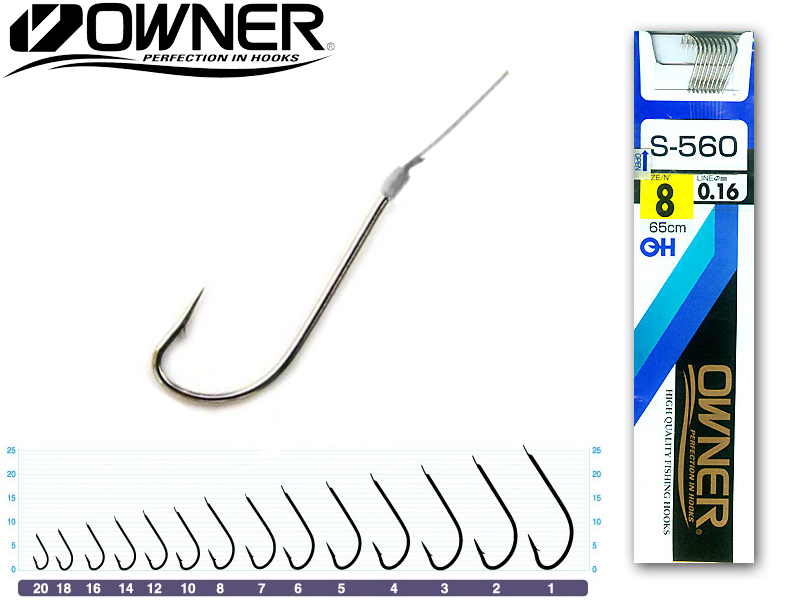 Owner S-560 Pre-Tied Hooks (Size: 4, Line Diameter: 0.25mm, Line Length: 65cm, Qty: 7)