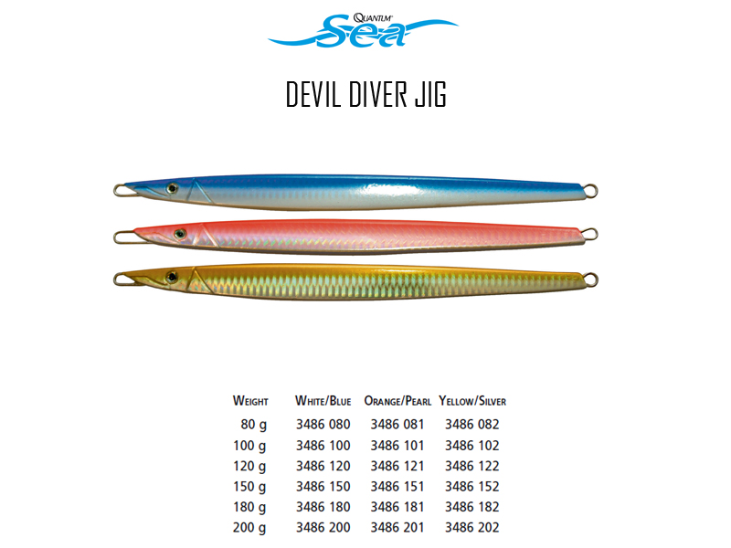 Quantum Devil Diver Jig (Weight: 180gr, Colour: White Blue)