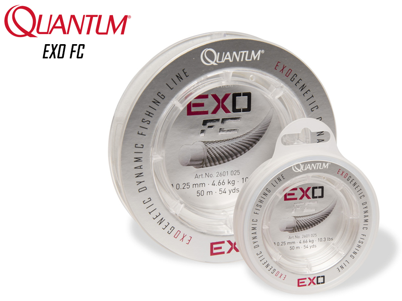 Quantum EXO FC (Size: 0.25mm, Breaking Strength: 4.66kg/10.3lb, Length: 50mt)