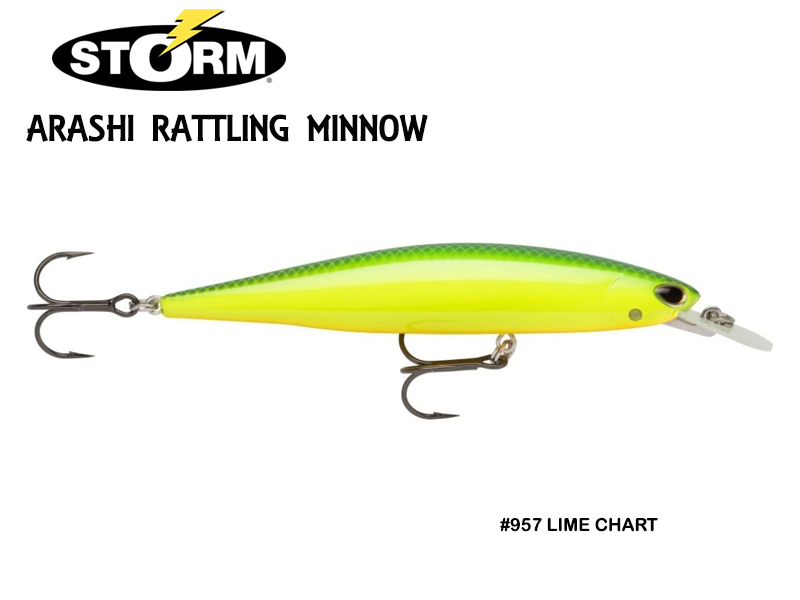 Storm Arashi Rattling Minnow ARM11 (Length: 11cm, Weight: 17gr, Color: #957 Lime Chart)