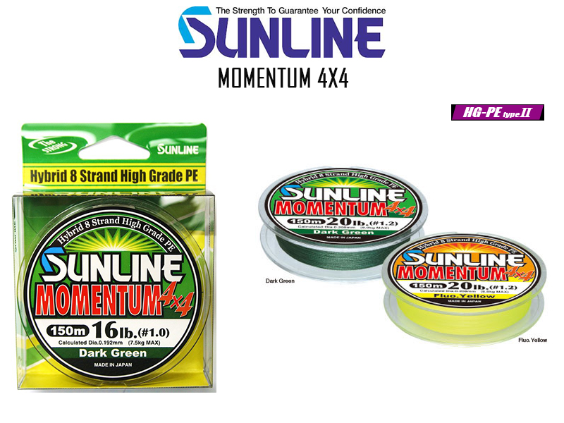 Sunline Momentum 4X4 ( Length: 150mt, PE: 1.0, Color: Dark Green)