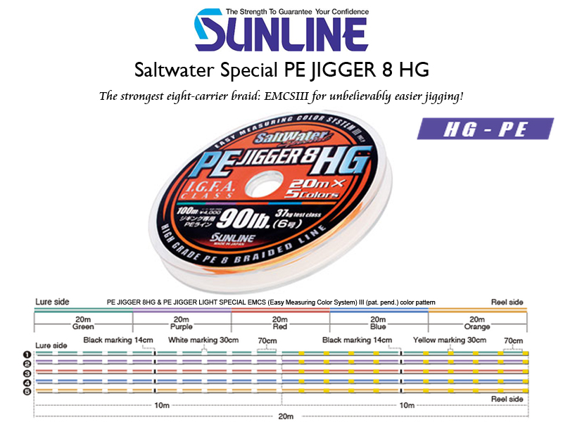 Sunline Saltwater Special PE Jigger 8 HG (Length: 300mt, Color: Multicolor, PE:#4, Strength: 60LB)