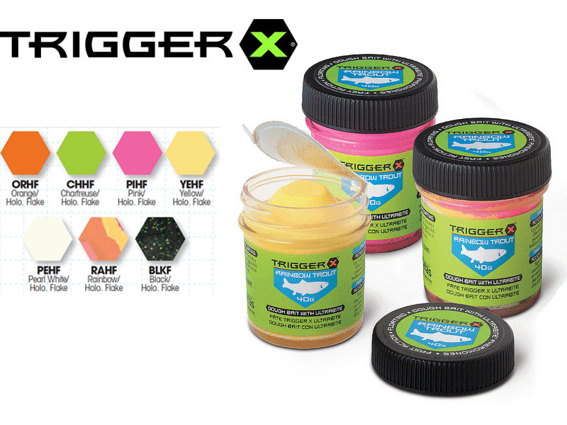 Trigger X Fast Action Dough Bait (40gr, Colour: Pearl White Holo. Flake)