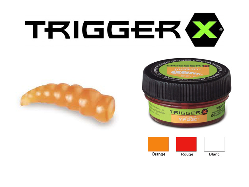 Trigger X Creature Baits Maggots Medium (13mm, 55 pcs, Colour: Pearl White)