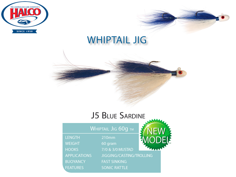 Halco Whiptail Jig 60 (Length: 210mm, Weight: 60gr, Color: J5 Blue Sardine)