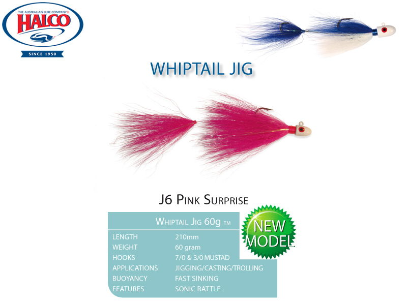 Halco Whiptail Jig 60 (Length: 210mm, Weight: 60gr, Color: J6 Pink Sunrise)