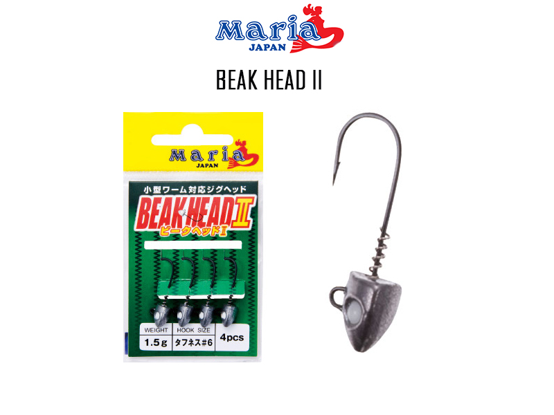 Maria Beak Head II (Size:0.5gr, Hook:#8, Pack: 4pcs)