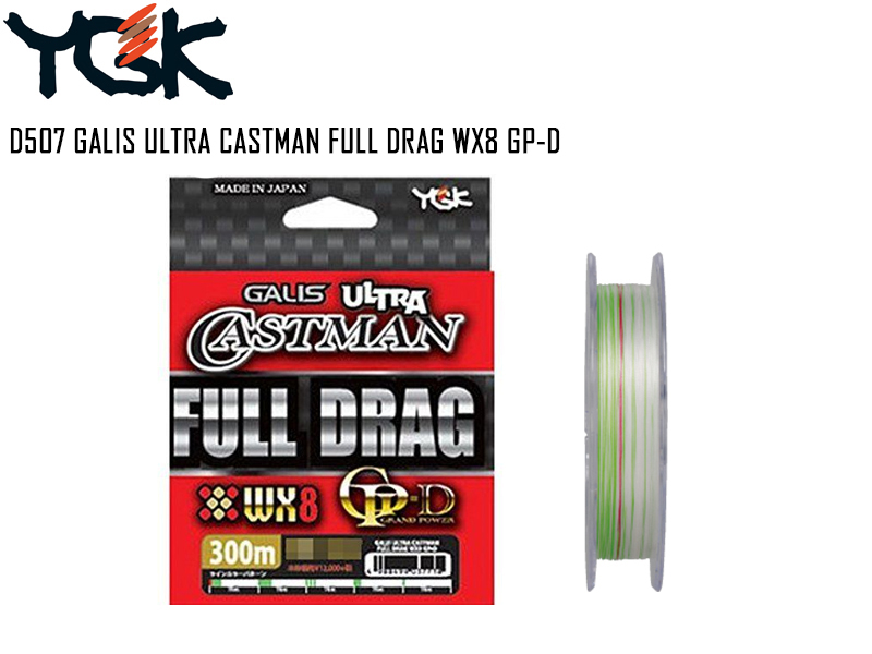 YGK D507 GALIS Ultra Castman Full Drag WX8 GP-D (Length: 300mt, P.E: 2.0, Strength: 38LB)