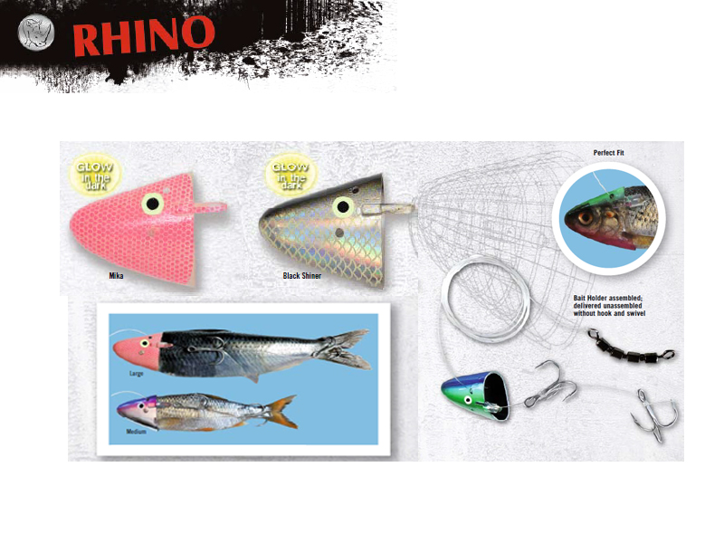 Rhino Bait Holder (Size: Large, Model: Black Shiner, Pack: 3)