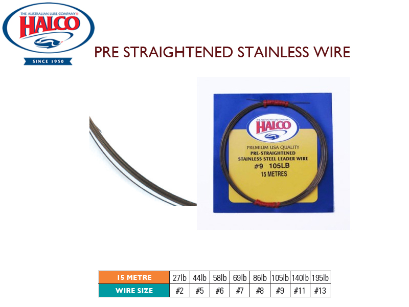 Halco Pre Straightened Stainless Wire (Length: 15mt, Wire Size:#6, Breaking Point: 58lb)