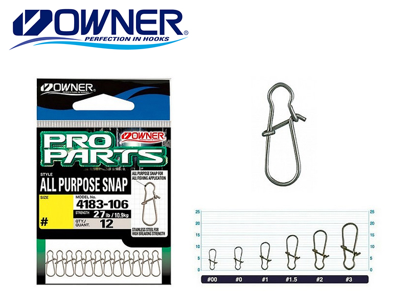Owner 4183 (P-02) All Purpose Snap (#0, 21lb, 12pcs)